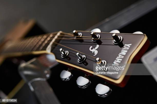 Detail of the headstock on a Yamaha FG830 acoustic guitar taken on October 3 2016
