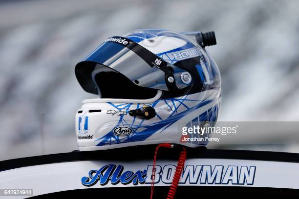 A detail of the helmet of Alex Bowman driver of the Nationwide Chevrolet on the grid during prerace ceremonies for the weather delayed Monster Energy...