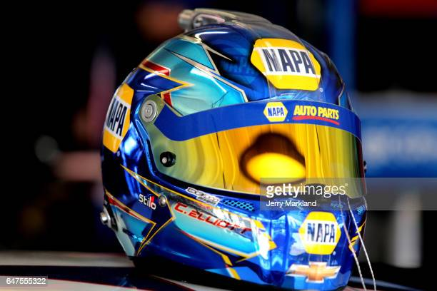 Detail of the helmet of Chase Elliott driver of the NAPA Chevrolet during practice for the Monster Energy NASCAR Cup Series Folds of Honor QuickTrip...