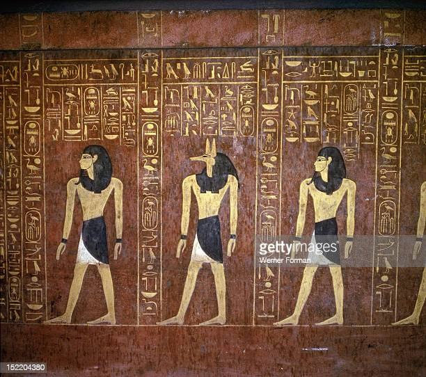 A detail of the hieroglyphic inscriptions and images of the pharaoh with Anubis god of mummification on the sarcophagus of Tuthmosis IV Egypt Ancient...