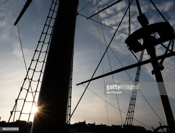Detail of the HM Bark Endeavour, a replica of Captain Cook's famous ship, HMS Endeavour as it is tied up in Whitby Harbour following refurbishment...