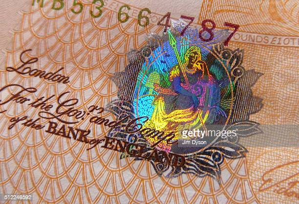 A detail of the holographic foiling on a £10 banknote featuring a brightly coloured picture of Britannia on February 24 2016 in London England The...