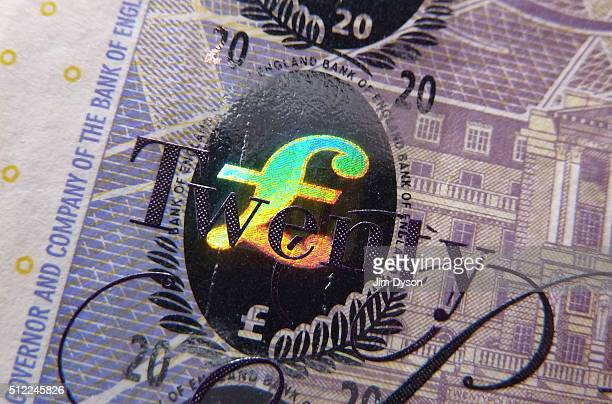 A detail of the holographic foiling on a £20 banknote featuring the pound symbol on February 24 2016 in London England The next range of banknotes...