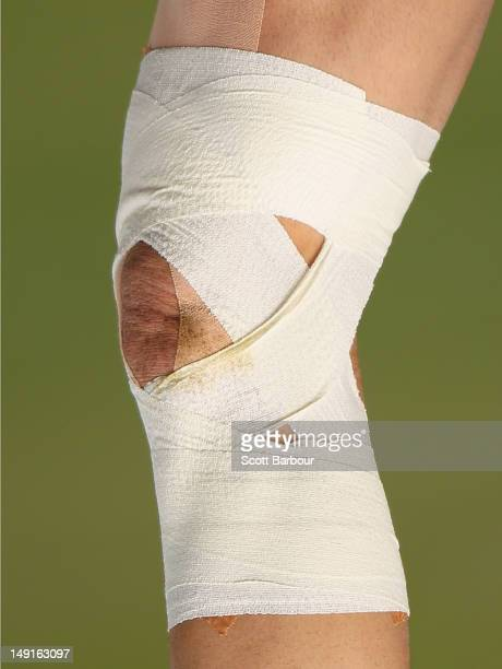 A detail of the injured knee of Billy Slater of the Storm during a Melbourne Storm NRL training session at Gosch's Paddock on July 24 2012 in...