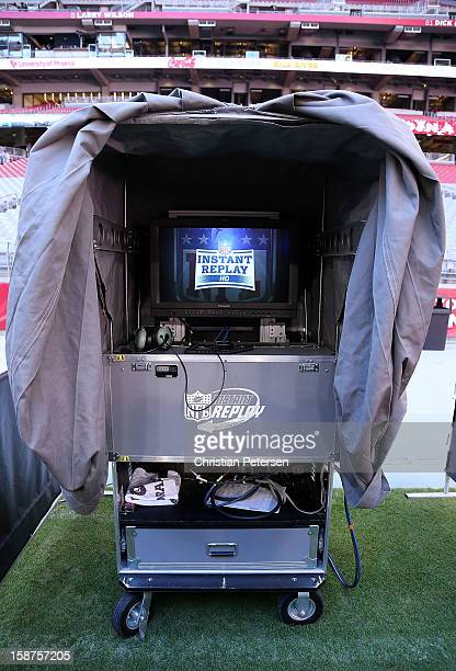 Detail of the Instant Replay booth during the NFL game between the Arizona Cardinals and the Chicago Bears at the University of Phoenix Stadium on...
