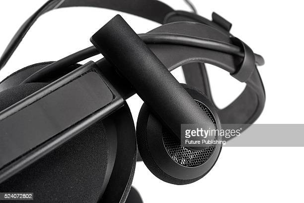 Detail of the integrated headphones on an Oculus Rift virtual reality headset taken on April 12 2016