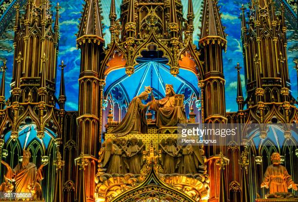 detail of the interior of the basilica of notre dame in montreal, canada. - notre dame de montreal stock photos and pictures