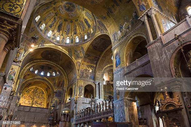 detail of the interior of the basilica of saint mark, venice italy. - basilica di san marco foto e immagini stock