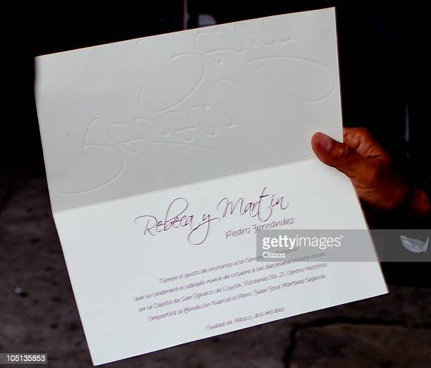 Detail of the invitation to Pedro Fernandez and Rebeca Garza wedding during their wedding on October 9 2010 in Mexico City Mexico
