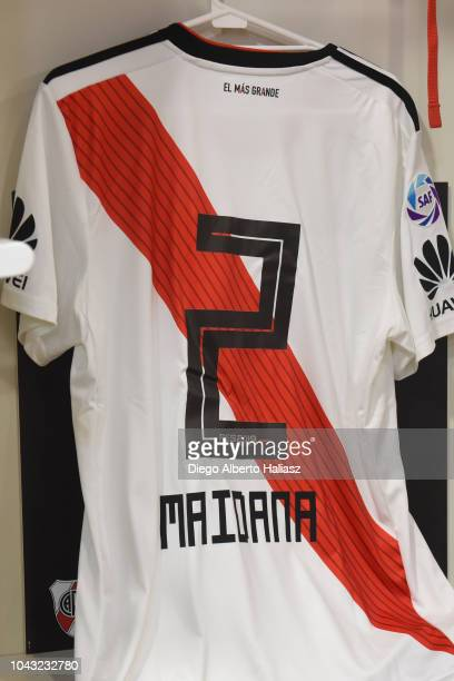 Detail of the jersey of Jonatan Maidana of River Plate in the visitor's dressing room prior to a match between Boca Juniors and River Plate as part...