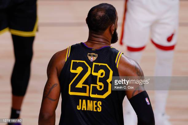 Detail of the jersey of LeBron James of the Los Angeles Lakers during the second half against the Miami Heat in Game Two of the 2020 NBA Finals at...