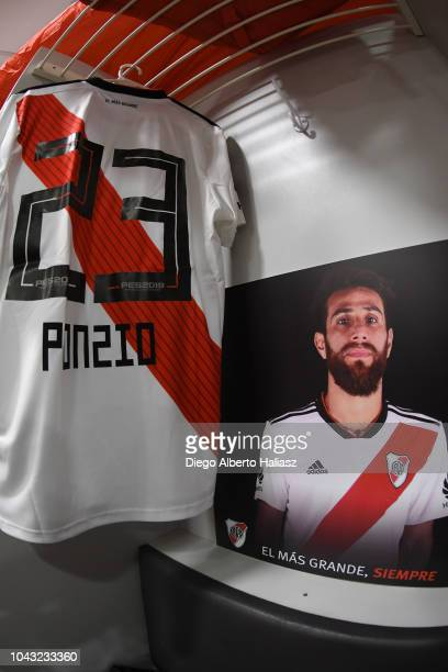 Detail of the jersey of Leonardo Ponzio of River Plate in the visitor's dressing room prior to a match between Boca Juniors and River Plate as part...