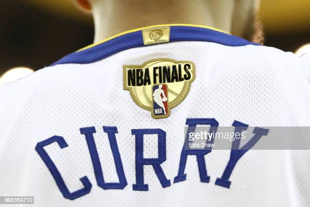 A detail of the jersey of Stephen Curry of the Golden State Warriors in Game 1 of the 2018 NBA Finals against the Cleveland Cavaliers at ORACLE Arena...