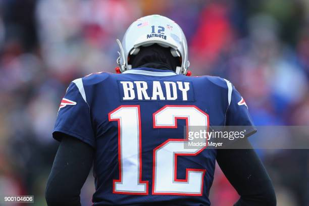A detail of the jersey of Tom Brady of the New England Patriots during the first half against the New York Jets at Gillette Stadium on December 31...