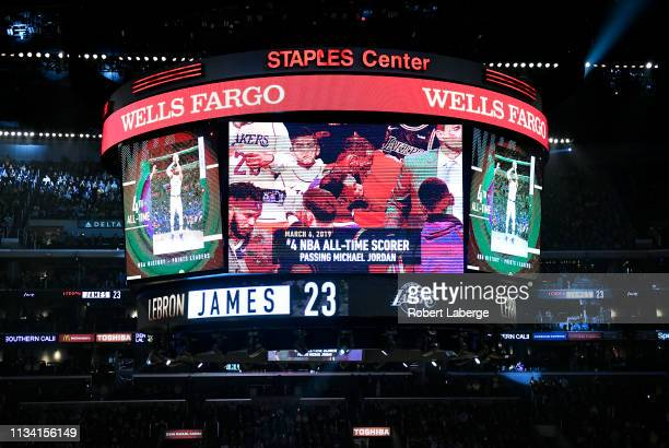 A detail of the jumbotron after LeBron James of the Los Angeles Lakers scored to pass Michael Jordan and move to on the NBA's alltime scoring list...