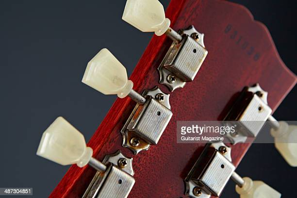 Detail of the Kluson Deluxe tuners on a 2013 Gibson Custom 1959 Les Paul Standard Reissue electric guitar taken on August 5 2013