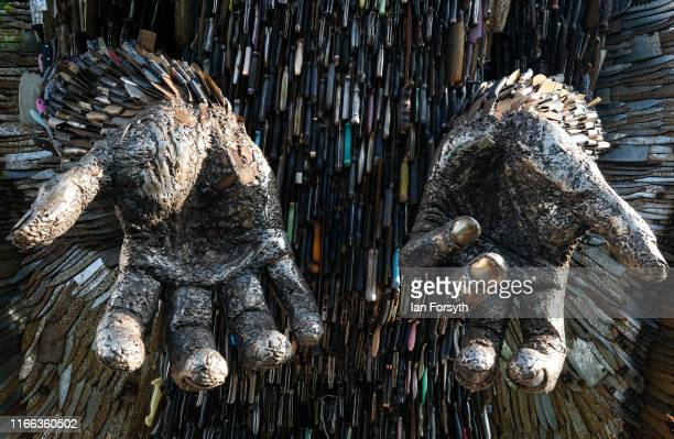 Detail of the Knife Angel sculpture installed in the Centre Square in Middlesbrough on August 06 2019 in Middlesbrough England The 27ft sculpture is...