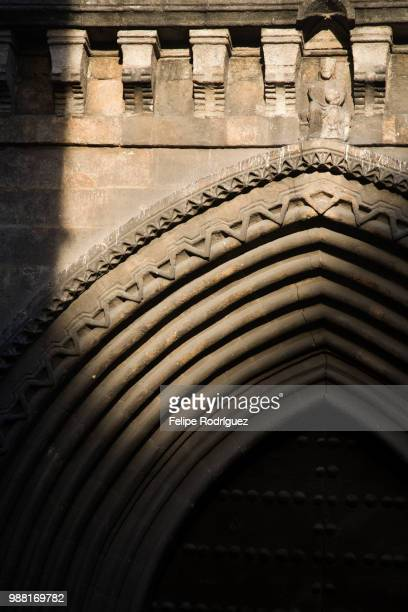 Detail of the lancet arch at the entrance of Santa Catalina church (14th century), Seville, Spain