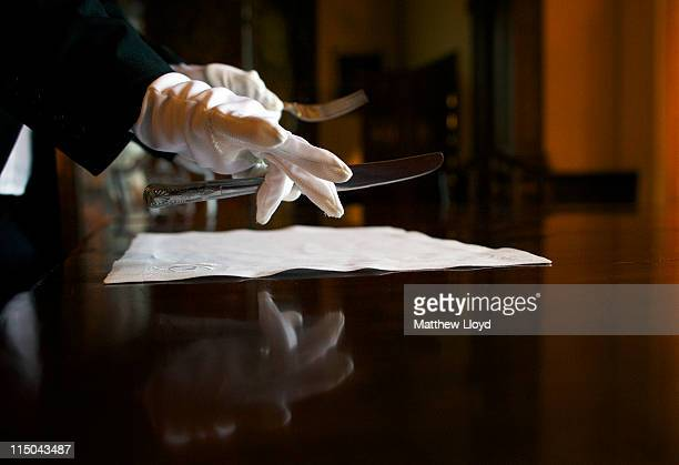 A detail of the laying of cutlery in the dining room in Highclere Castle on March 15 2011 in Newbury England Highclere Castle has been the ancestral...
