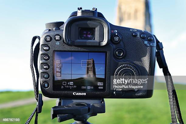 Detail of the LCD screen on a Canon DSLR in front of St Michael's Tower at Glastonbury in Somerset taken on May 16 2013