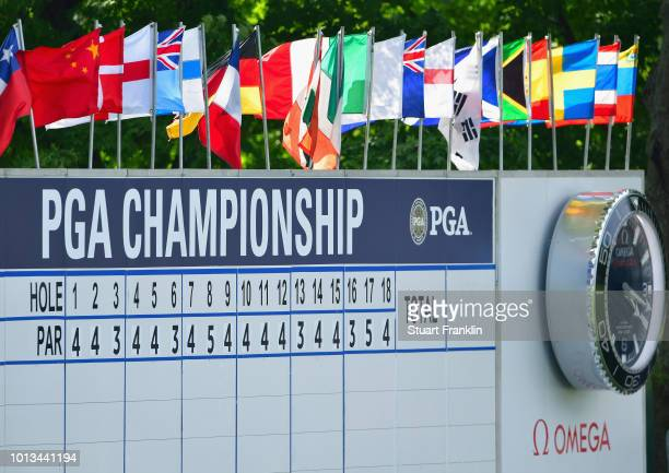 A detail of the leaderboard during a practice round prior to the 2018 PGA Championship at Bellerive Country Club on August 8 2018 in St Louis Missouri
