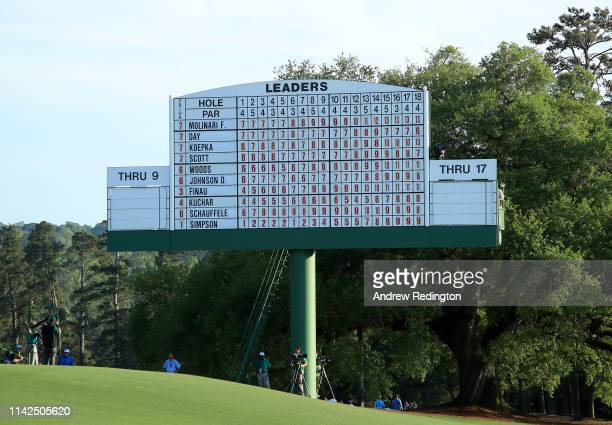 A detail of the leaderboard on the 18th green during the third round of the Masters at Augusta National Golf Club on April 13 2019 in Augusta Georgia