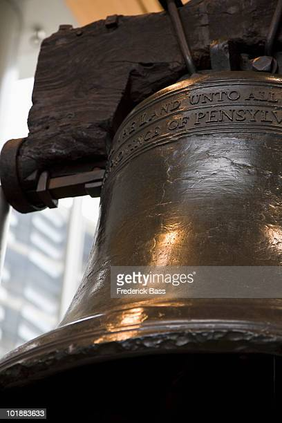 detail of the liberty bell, philadelphia, pa, usa - liberty bell stock pictures, royalty-free photos & images