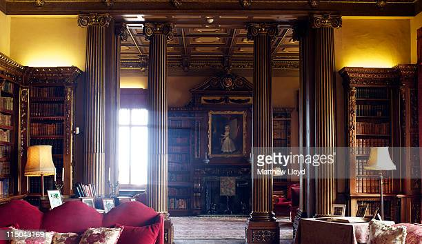 Detail of the library in Highclere Castle on March 15, 2011 in Newbury, England. Highclere Castle has been the ancestral home of the Carnarvon family...