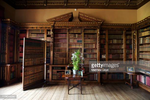 Detail of the library showing a hidden door to the music room in Highclere Castle on March 15, 2011 in Newbury, England. Highclere Castle has been...