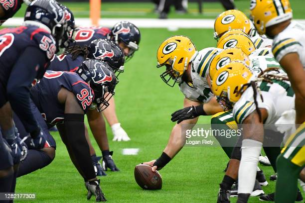 Detail of the line of scrimmage during the second quarter between the Houston Texans and the Green Bay Packers at NRG Stadium on October 25, 2020 in...
