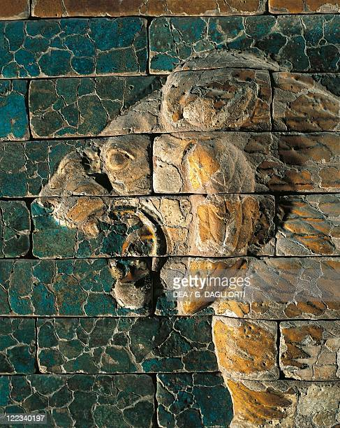 Detail of the lion head decorating the processional way of the Ishtar Gate in Babylon glazed bricks