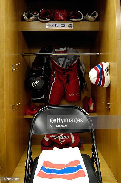 A detail of the locker of Brooks Laich in the Washington Capitals locker room prior to the 2011 NHL Bridgestone Winter Classic at Heinz Field on...