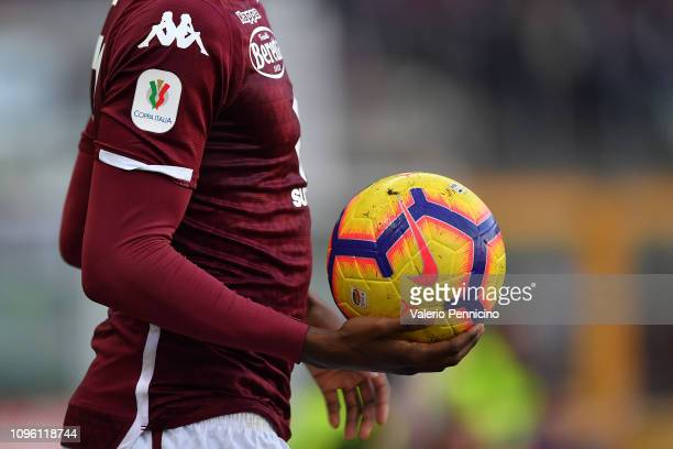 Detail of the logo of the Italian cup during the Coppa Italia match between Torino FC and ACF Fiorentina at Olimpico Stadium on January 13, 2019 in...