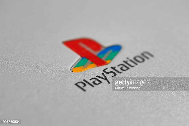 Detail of the logo on a vintage 1990's Sony PlayStation games console, taken on September 14, 2016.