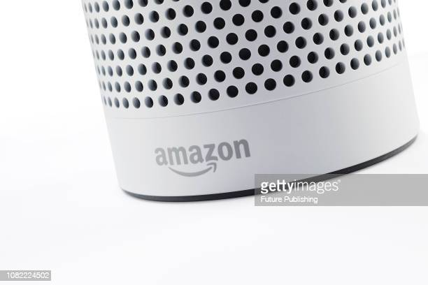 Detail of the logo on an Amazon Echo Plus smart speaker taken on January 9 2019