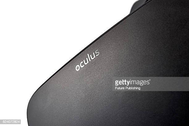 Detail of the logo on an Oculus Rift virtual reality headset taken on April 12 2016