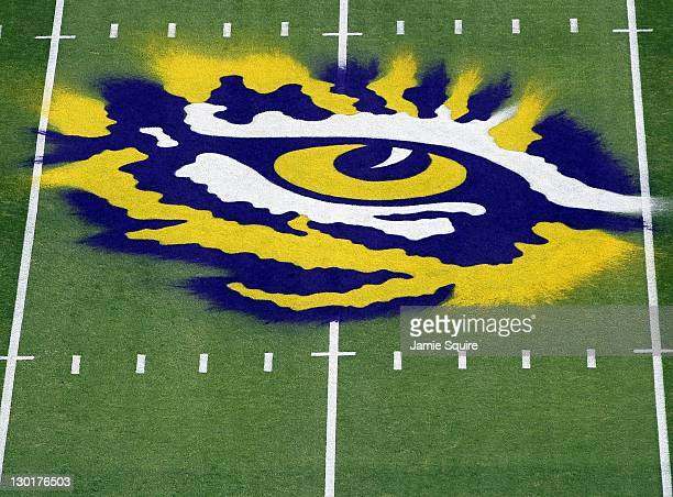 A detail of the logo on the field of the LSU Tigers prior to the the game against the Auburn Tigers at Tiger Stadium on October 22 2011 in Baton...