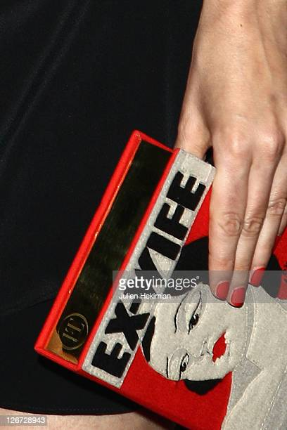 Detail of the Louise Bourgoin bag pictured during 'Un Heureux Evenement' Paris premiere at UGC Cine Cite Bercy on September 26, 2011 in Paris, France.