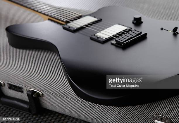 Detail of the mahogany body of a Fender Jim Root Jazzmaster electric guitar taken on March 6 2014