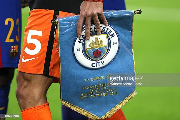 Detail of the Manchester City match pennant during the UEFA Champions League match between FC Barcelona and Manchester City FC at Camp Nou on October...