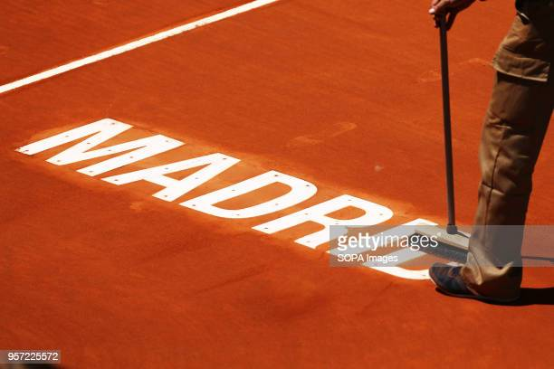 Detail of the Manolo Santana court third round match during day six of the Mutua Madrid Open tennis tournament at the Caja Magica