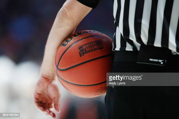 A detail of the March Madness basketball logo as seen during the first half between the Cincinnati Bearcats and the Nevada Wolf Pack in the second...