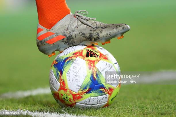 Detail of the match ball and the cleats of Mohamed Taabouni of Netherlands during the FIFA U-17 World Cup Brazil 2019 group D match between...