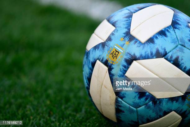 Detail of the match ball during a match between Estudiantes and Patronato as part of Superliga 2019/20 at Ciudad de La Plata Stadium on September 21,...