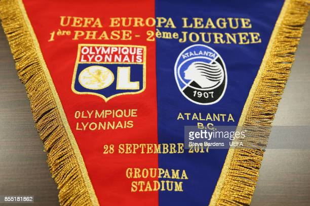 Detail of the match day pennant in the Olympique Lyonnais Lyon dressing room prior to the UEFA Europa League group E match between Olympique Lyonnais...