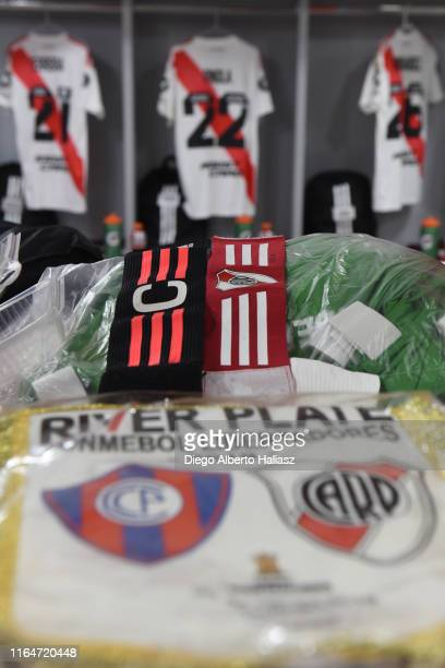 Detail of the match's pennant and captain's armband in the away dressing room before a match between Cerro Porteño and River Plate as part of Quarter...