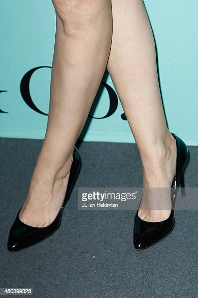 A detail of the Melanie Doutey shoes pictured during the Tiffany Co Flagship Opening on the Champs Elysee on June 10 2014 in Paris France