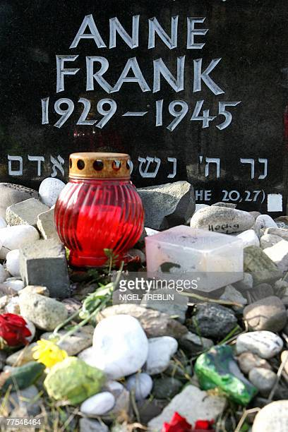 Detail of the memorial stone for Jewish girl Anne Frank author of The Diary of a Young Girl and her sister Margot pictured 28 October 2007 on the...