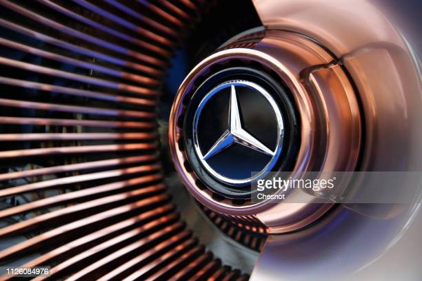 Detail of the Mercedes logo on display on the wheel of a Mercedes-Benz Vision EQ Silver Arrow during the 34nd International Festival Automobile at...