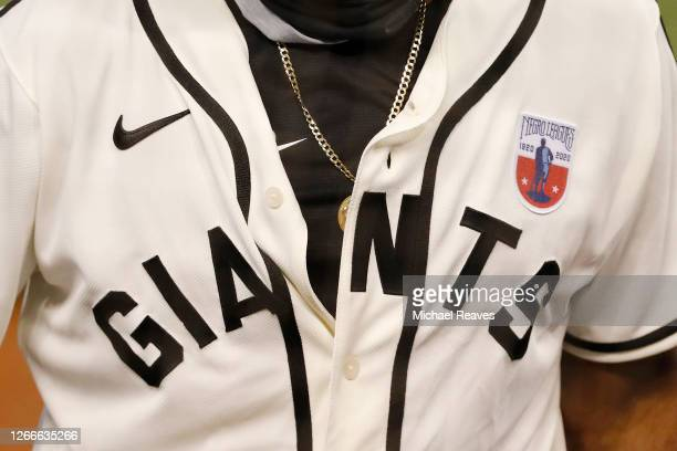 Detail of the Miami Marlins uniform commemorating the Negro Leagues' 100th anniversary against the Atlanta Braves at Marlins Park on August 16, 2020...